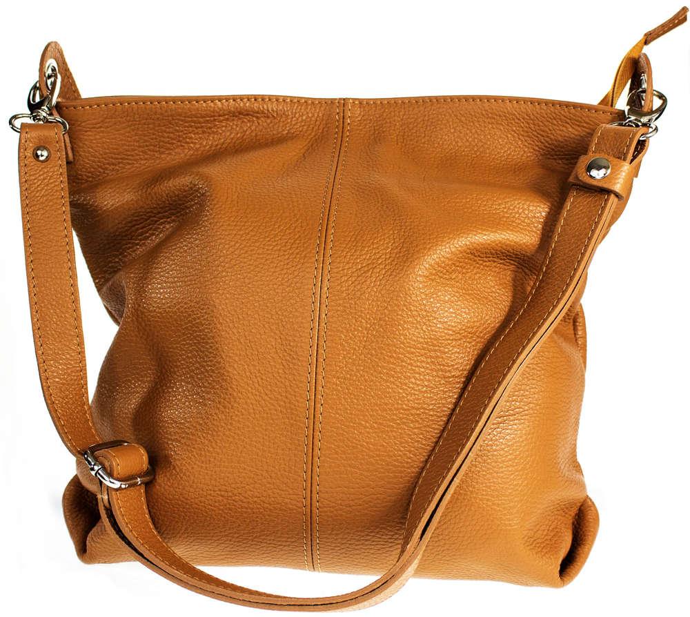 94afe82a7d414 Echt Leder Tasche Damentasche Schultertasche Shopper Ledertasche cognac  MC103376
